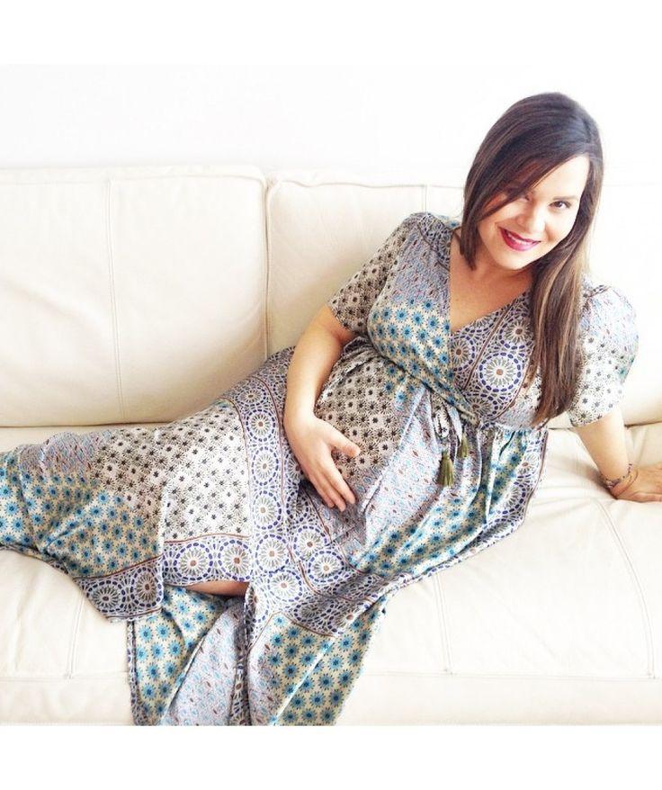 Eliana Chrysicopouloy wearing Nanarise Maternity Alexandra maxi bohemian print silk dress. Now available at nanarise maternity e-shop!