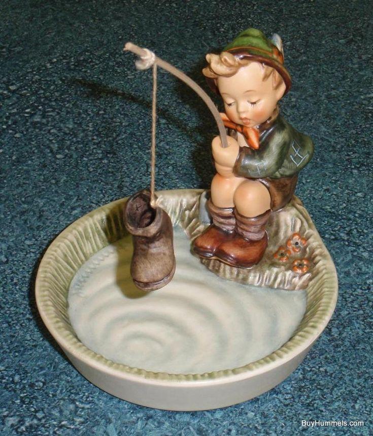 """Just Fishing"" Goebel Hummel Figurine #373 TMK6 SIGNED by Skrobek MINT WITH BOX!"