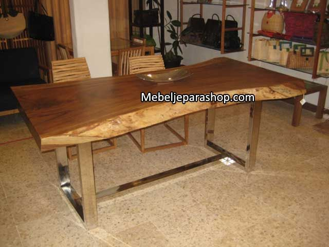 Suar Wood Natural Edge With Stainless Leg