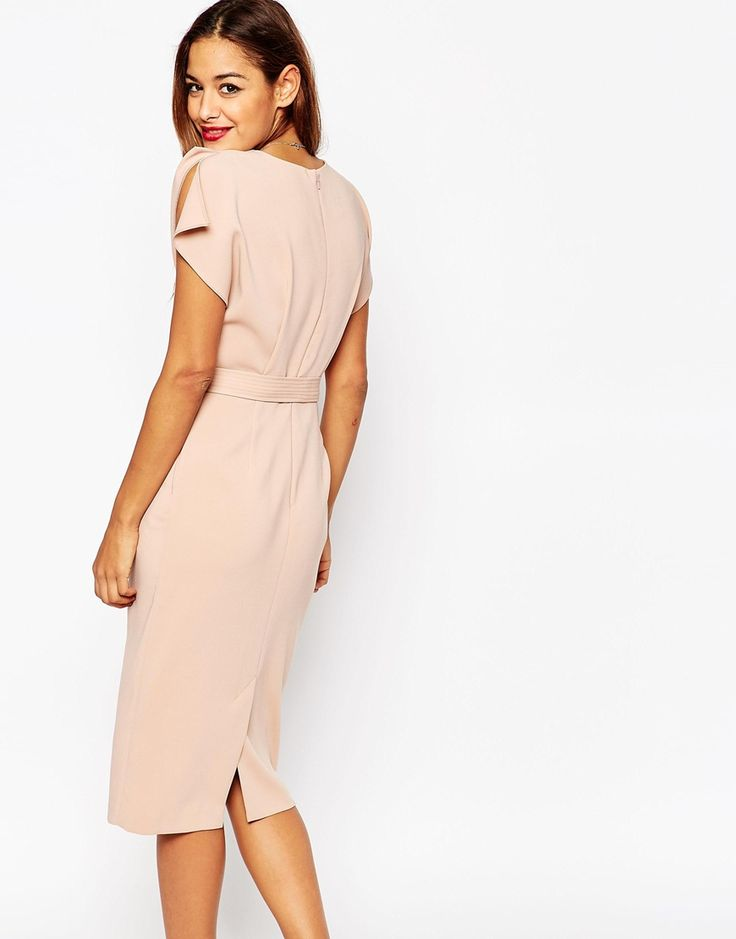 Image 2 of ASOS Belted Dress with Split Cap Sleeve and Pencil Skirt