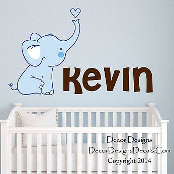Baby Elephant Custom Name Printed Fabric Repositionable Wall Decal Sticker