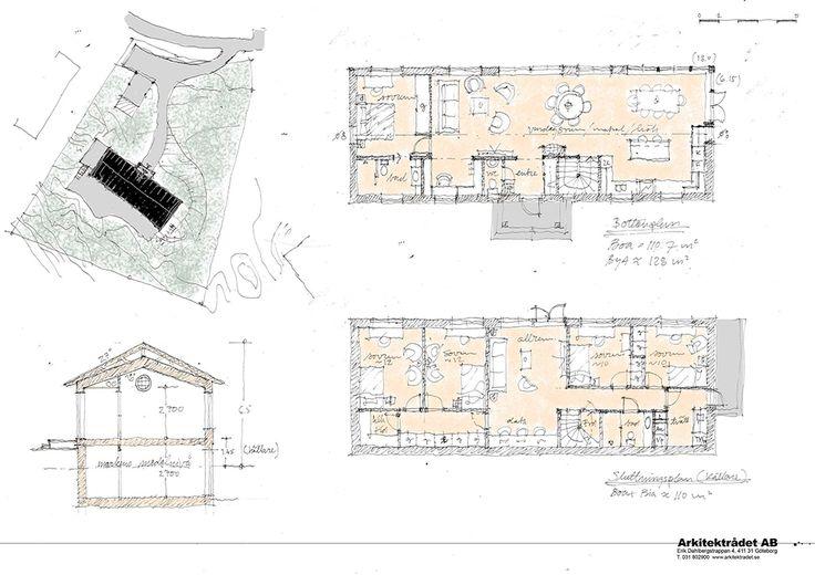Skiss på New England hus 8 rum i två plan med 3 badrum. 220 kvm boyta och 130 kvm byggarea. Många och stora fönster för ett härligt ljusinsläpp.