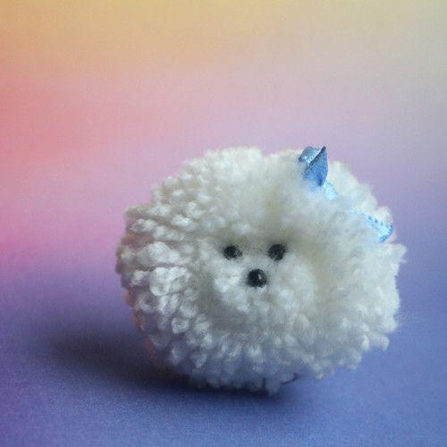 "Brož  \""Bišonek\"", Brooch cute pomp pomp animals, wool, light, nature, animal, natural, dog, pet, white, cheerful, gentle, sweet, bišonek, cute pom pom animals, miniature"