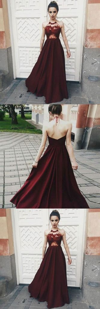 Sexy Halter Dark Burgundy Long Sleeveless Prom Dre… -  Prom shopping is alive and well on Pinterest. Compare prices for this @ Wrhel.com before you commit to buy. #Prom #promdresseslong