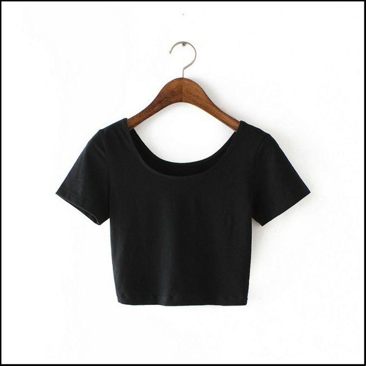 2017 Nouveau Femmes Meilleure Vente U cou Sexy Crop Top dames À Manches Courtes T-shirt Tee T-shirt Court De Base Stretch T-shirts