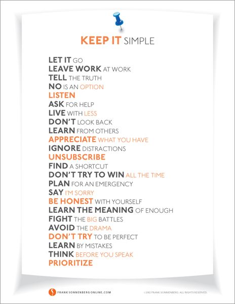 """Do you want to simplify your life? Download this free poster. It provides 24 ways to """"Keep it Simple"""""""