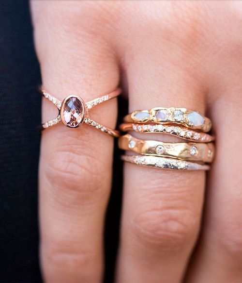 This 14k rose gold diamond band is simple in design, but unique in style. 0.07 carats diamonds set in 14k rose gold Handmade with Love in LA Worn with: Eternity Band