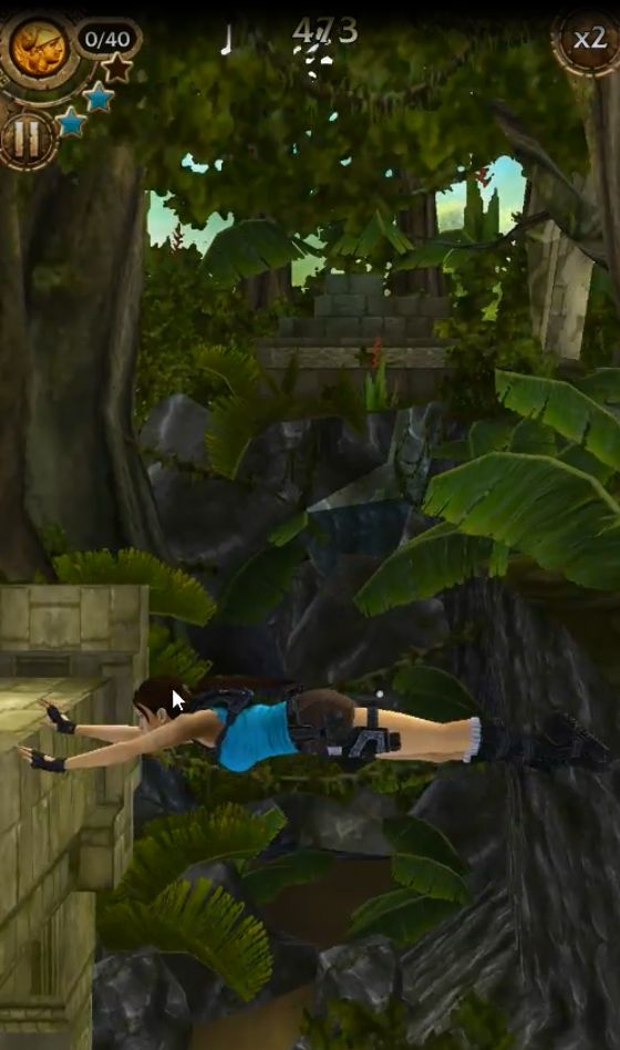 "This is an image from the Laura Croft Game App ""Relic Run"" In this game navigate different terrains, collect coins, clues, and relics, to find a friend in trouble."