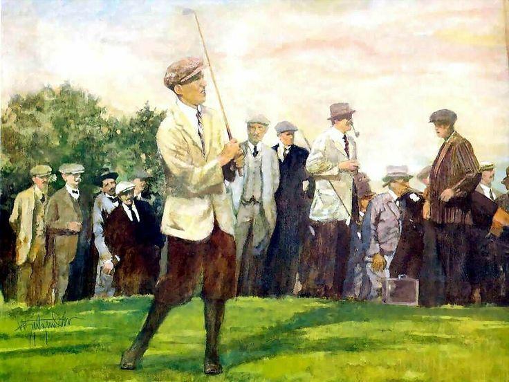 Walt Spitzmiller - Francis Ouimet 1913 U.S. Open Original Oil on canvas