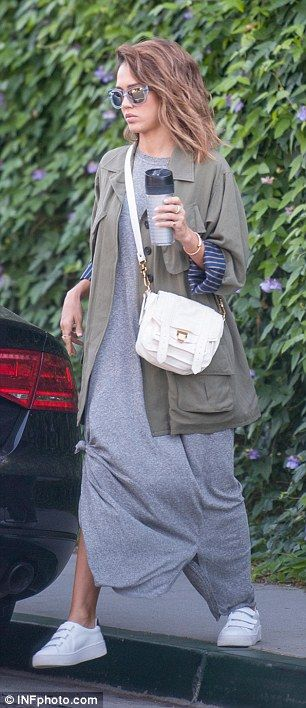Doting daughter: Alba was spotted running errands on Wednesday but made time to stop by her mom's office for a visit