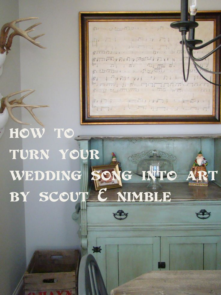 How to turn a song into art.  What a great piece to hang in a bedroom or with a grouping of wedding photos. The link has step by step instructions and a website for finding sheet music. Anniversary gift?