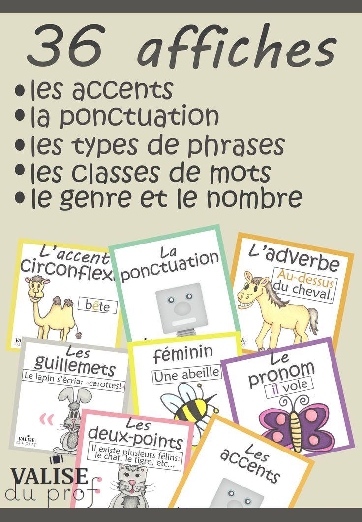 Affiches de français: -Ponctuation; -Accents; -Classes de mots; -Genre et nombre; -Types de phrases.