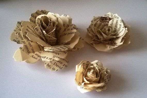 20 Vintage Roses Book Page Roses wedding by BMCraftWedding on Etsy