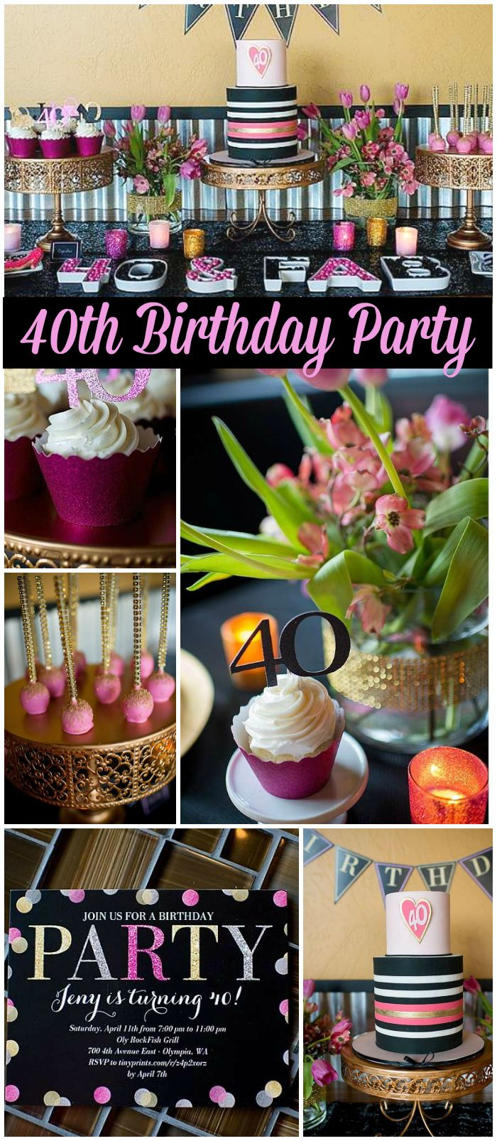 Check out this glamorous 40th birthday party with stylish decor and gorgeous treats! See more party ideas at CatchMyParty.com!