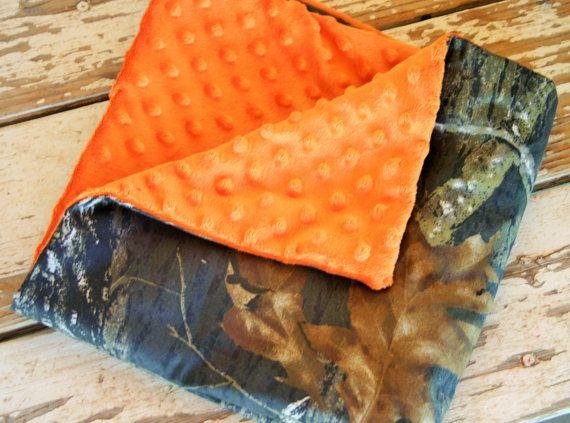 mossy oak and orange minky car seat blanket by SqueakyBugBabies