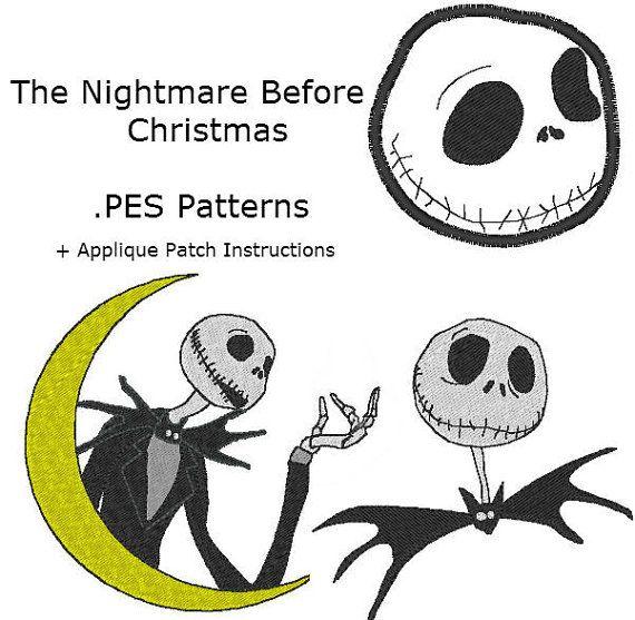 Jack Skellington The Nightmare Before Christmas Machine Embroidery PES JEF on Etsy, $10.20 CAD