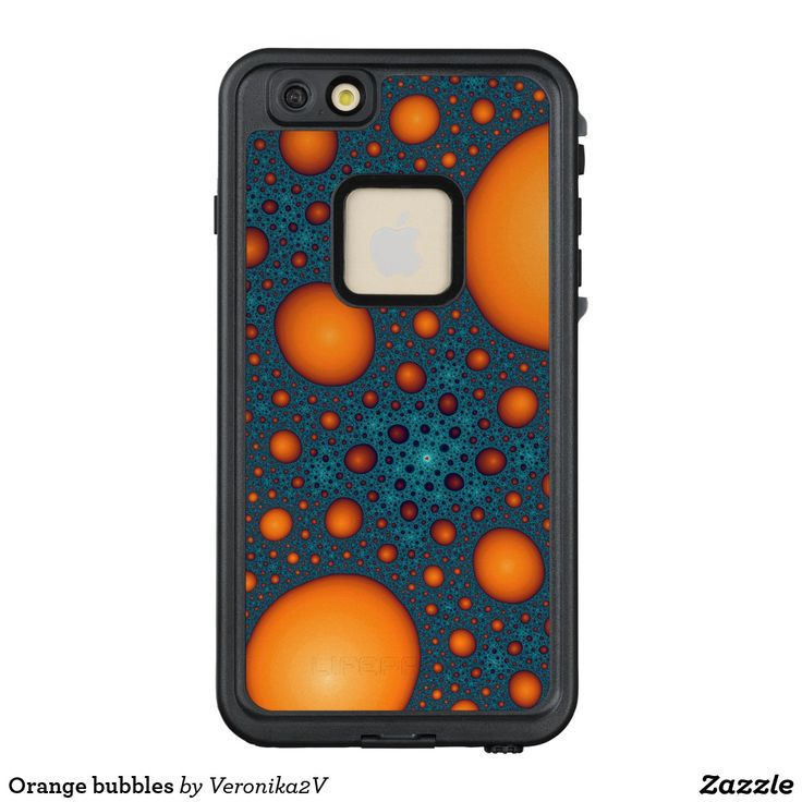 Orange bubbles LifeProof FRĒ iPhone 6/6s plus case, funny, orange, cyan, blue, bright, abstract, bubbles, fractal, round, saturated, fantasy,  colorful, fun, dark, pattern, artwork, buy, sale, shop, zazzle, gift ideas, iphone, apple, gadgets, case, 6, 6S
