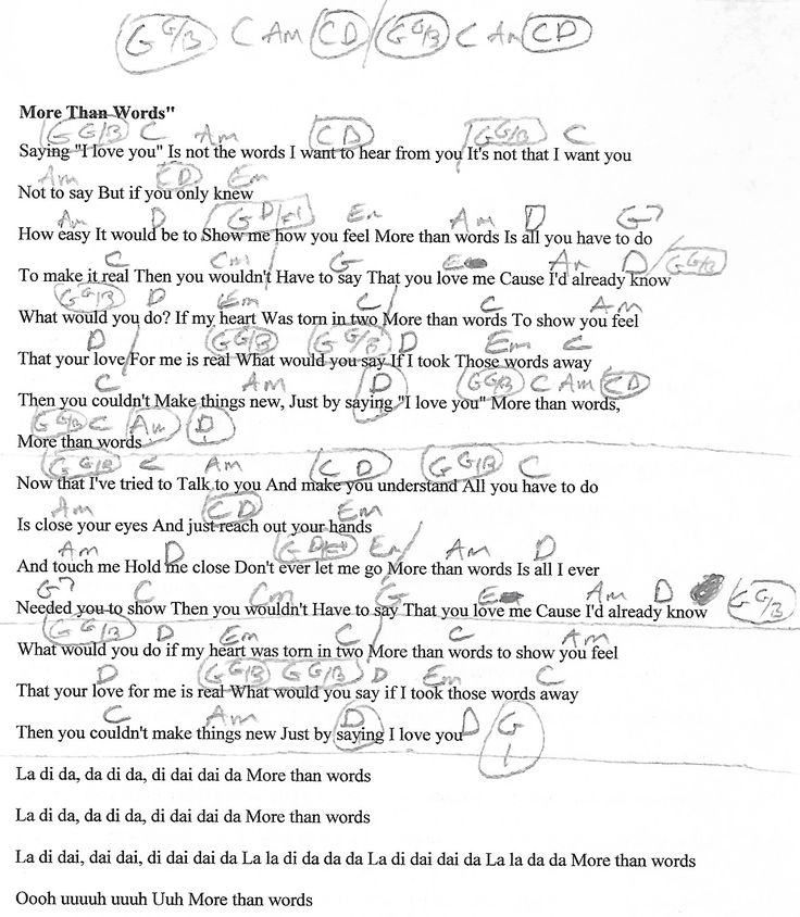More Than Words (Extreme) Guitar Chord Chart with Lyrics - http://www.youtube.com ...