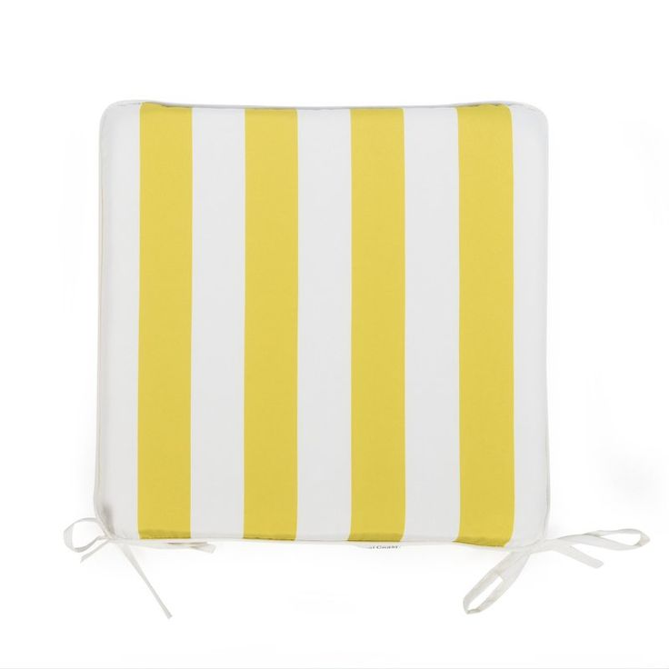Coral Coast Lakeside 17 x 17 in. Outdoor Furniture Seat Pad Chartreuse Yellow Thick Stripe - TRENDM020-PC126-YELLOWSTRIPE