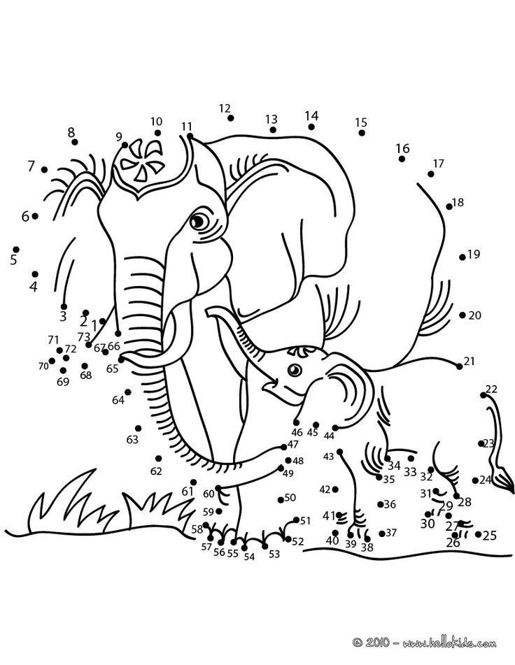 ELEPHANTS dot to dot game - ANIMALS dot to dot