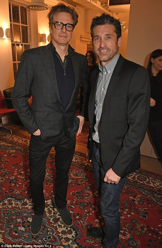 Leading men: Bridget Jones' Baby stars Colin Firth and Patrick Dempsey partied together at a documentary screening in London's Mayfair on Tuesday