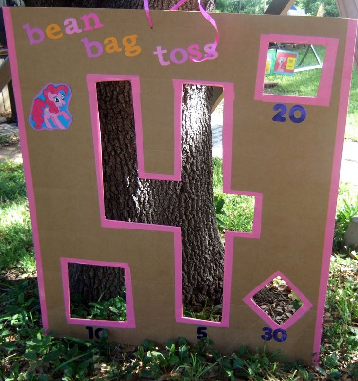 Homemade Bean Bag Toss My Little Pony Birthday Party. Large sheets of cardboard can be found at SAMs... They use them to separate the cases of bottled water. Used pink duct tape to clean up the edges. Kids loved this game!:)