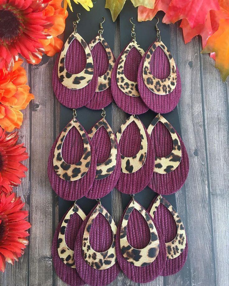 "Sharon Jay Gilman 🌸designer🌸 on Instagram: ""Burgundy/leopard earrings ar…  – DIY"