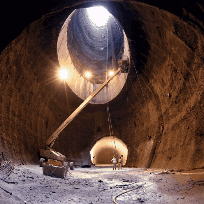 The US began building the Superconducting Super Collider in 1991, near Waxahachie, Texas. It was eventually abandoned before being completed leaving 22.5 km of tunnel and 17 shafts. The surface buildings appear to have been sold since the article was written.