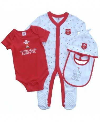 Wales WRU Rugby Baby 4 Piece Gift Set - 2015/16