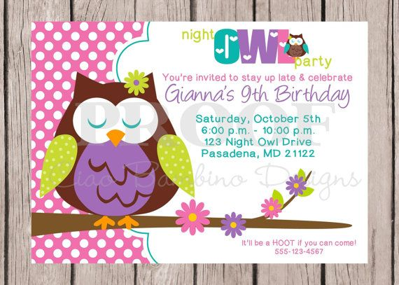 super cute invite, but I like the idea of the night owl ...
