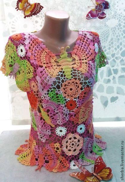 "Блузон ""Бабочки"" - цветочный,блузон,майка вязаная,майка крючком,майка летняя"