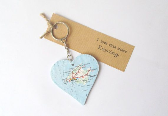 Mallorca and Menorca map keyring heart shaped by MadewithMaps