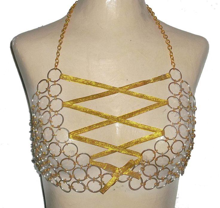 Gold & Silver Tone Chainmail Bikini Bellydance, Burlesque, Cosplay Bra by KattsChainCreations on Etsy