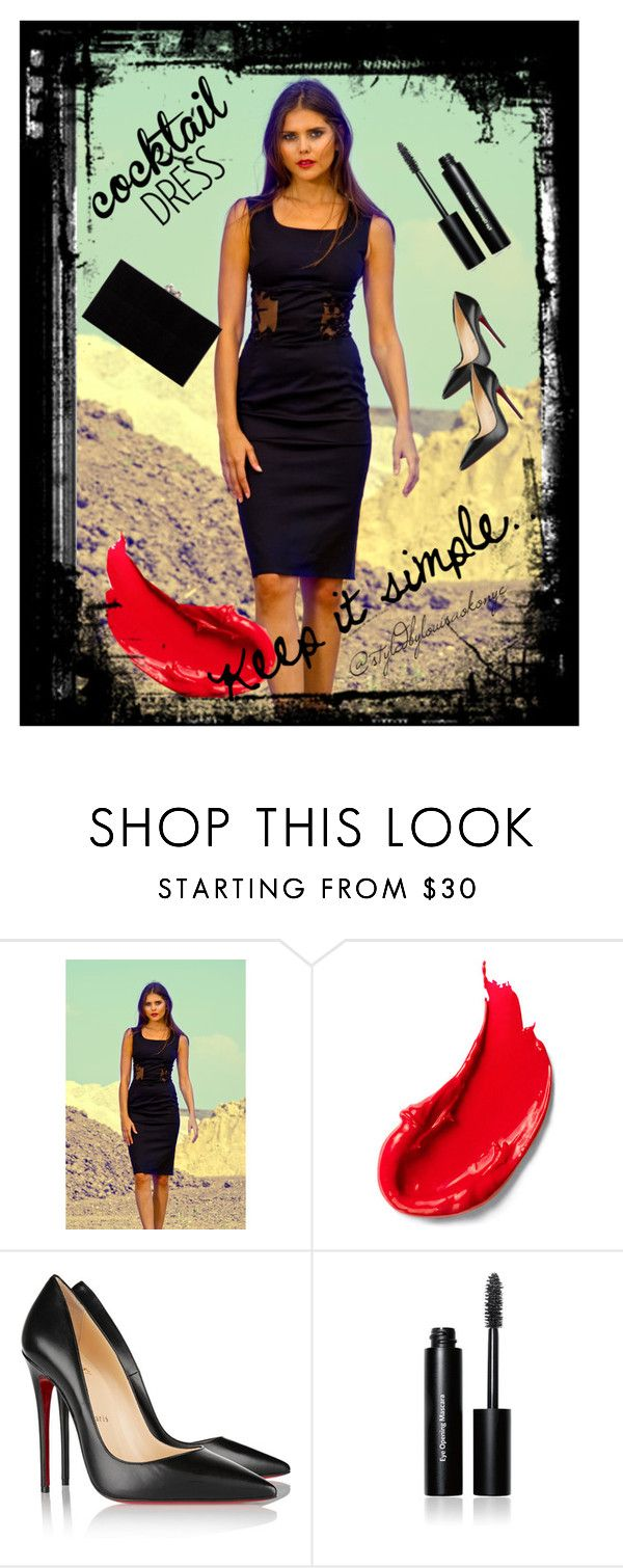 cocktail dress ... by louisaokonye on Polyvore featuring Christian Louboutin, Charlotte Olympia, Bobbi Brown Cosmetics, Estée Lauder  Dress by Louisa Okonye. Use coupon code PINT10 to save 10% on this dress in my Etsy Shop #dress #blackdress #littleblackdress #cocktaildress #wiggledress #lacedress