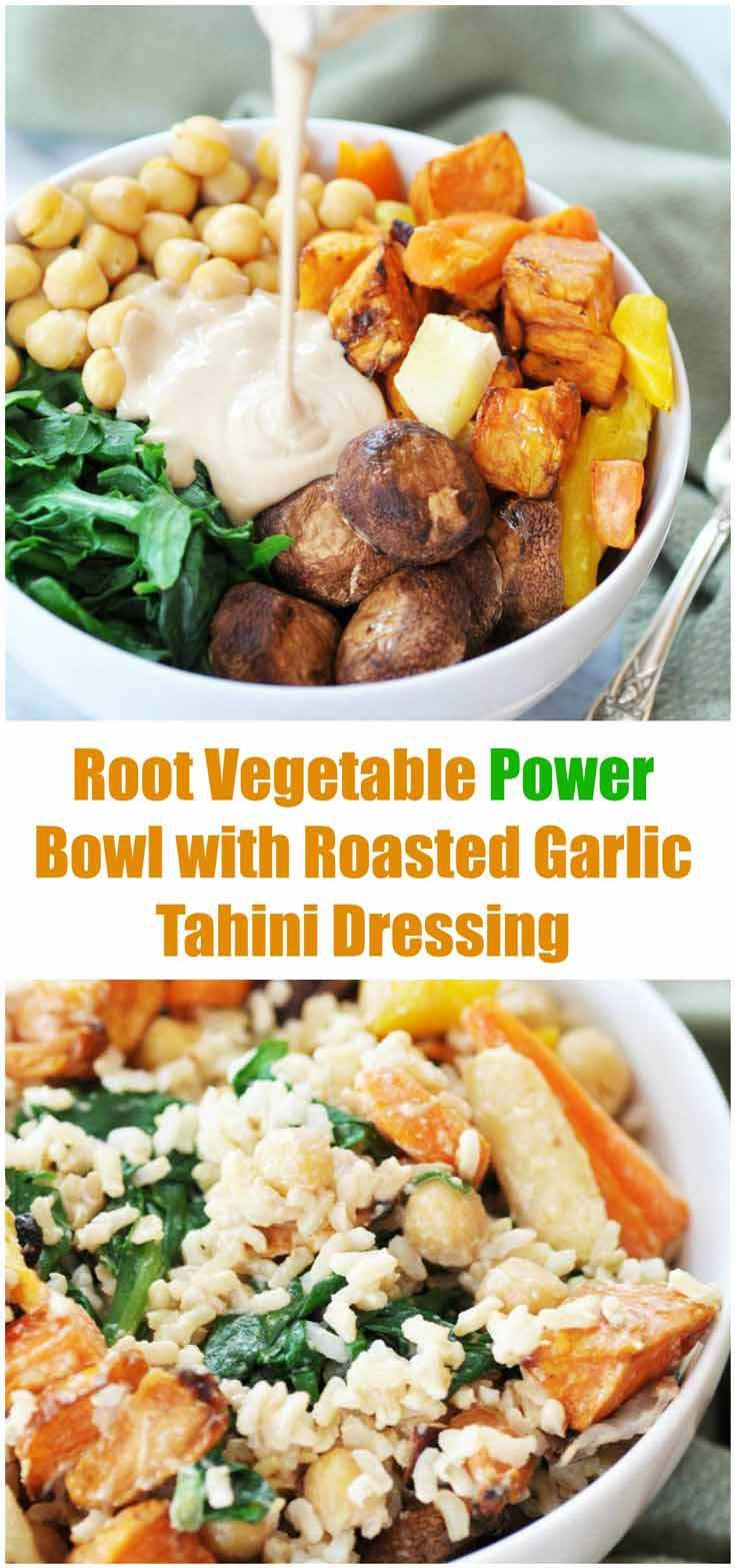 Root Vegetable Power Bowl & Roasted Garlic Tahini Dressing! This super bowl recipe is filled with vegetables and pulses. The dressing recipe is so rich, creamy, and flavorful. Oil free, too. www.veganosity.com
