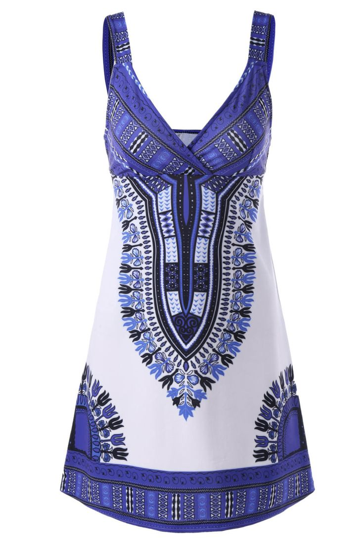 $20.40 Empire Waist Curved Mini Dress - Blue And White