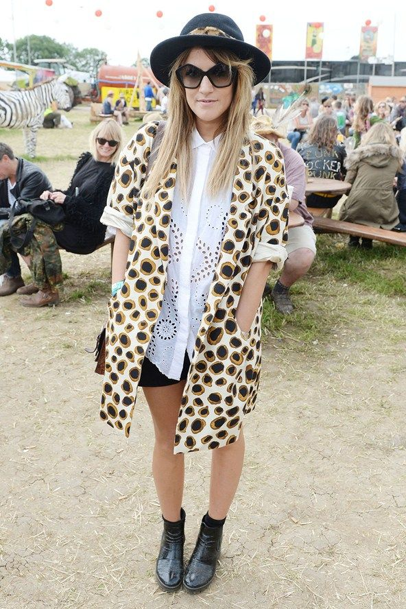 Caroline Flack seemed to take her style inspiration from Boy George before she graced Glastonbury. Karma-karma-karma... Glastonbury 2013 Celebrity Spots