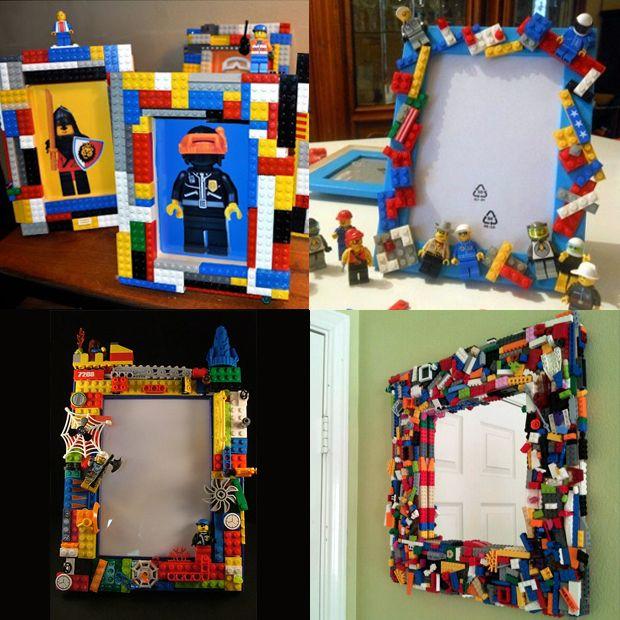 Moldura para espelho ou porta retrato com Lego;