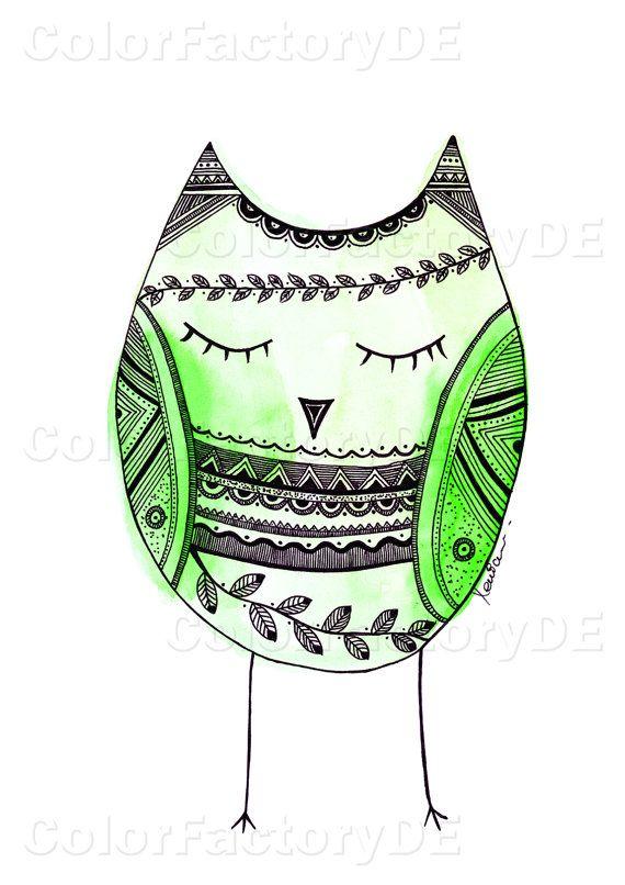 Zentangle buho Print verde buho acuarela por ColorFactoryDE en Etsy