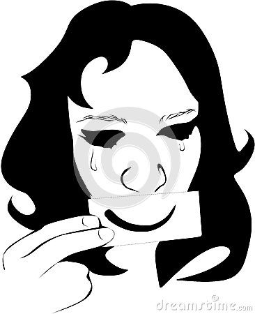Colored Vector illustration of a fictional woman weeping.