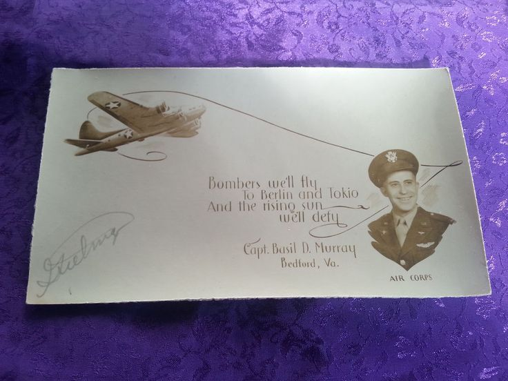 WWII CAPT. BASIL D MURRAY AIR CORPS BEDFORD VA CARD BEDFORD BOYS POEM & PHOTO
