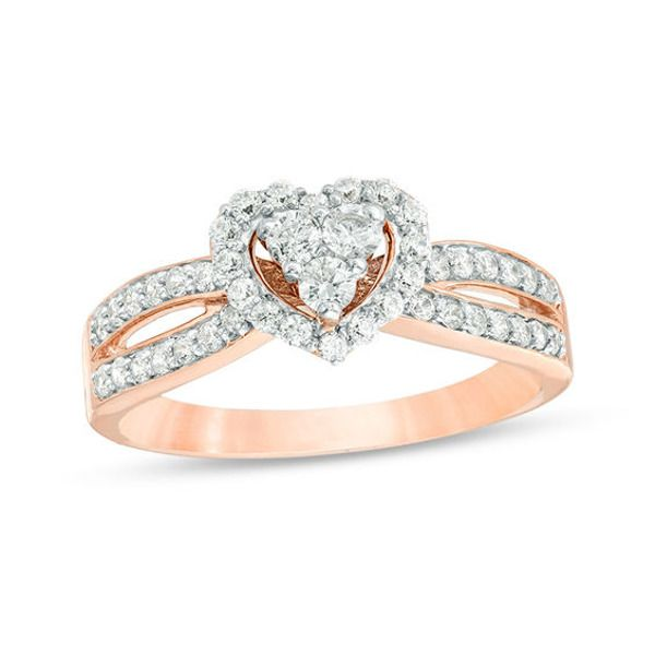 1 2 Ct T W Composite Diamond Heart Frame Split Shank Engagement Ring In 10k Rose Gold Zales In 2020 Split Shank Engagement Rings Diamond Heart Rose Engagement Ring