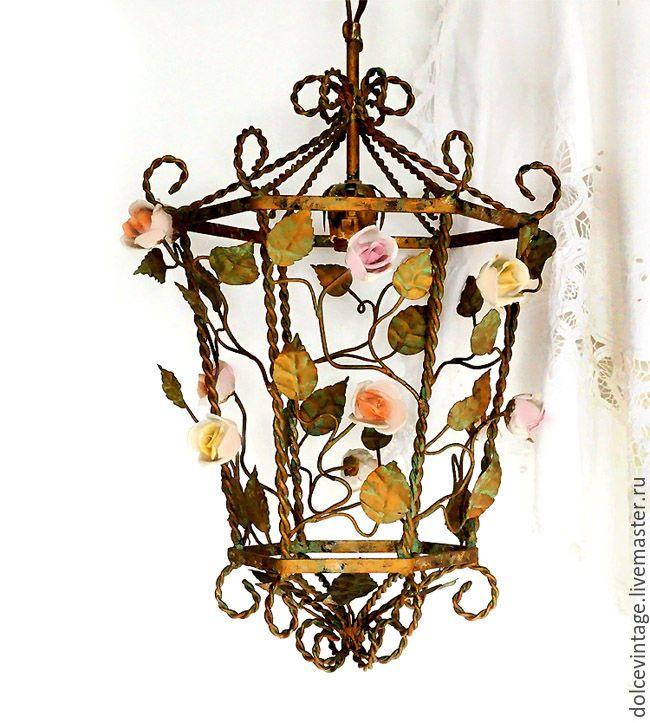 """Купить Редкость!Антикварная люстра флорентийской ковки """"Райский сад"""",Италия - комбинированный, итальянская люстра"""