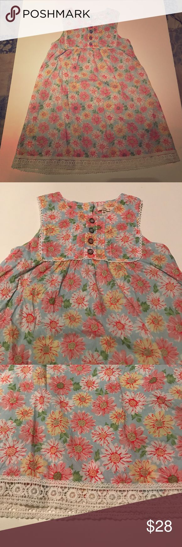 Matilda Jane floral tank dress size 6 euc Gorgeous timeless light blue floral Matilda Jane dress with vintage details like lace make this dress perfect for any occasion. Bought new for my daughter who only wore this three times before she outgrew it now it is time to pass this on! Dress has never been put into the dryer only hung to dry! In excellent used condition with no issues! Matilda Jane Dresses