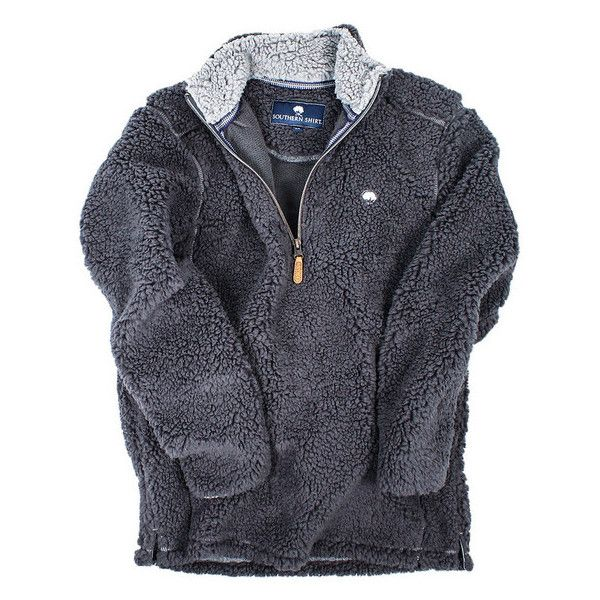 Quarter Zip Sherpa Pullover in Magnet Grey by The Southern Shirt Co. ($36) ❤ liked on Polyvore featuring tops, sweaters, gray shirt, preppy sweaters, sweater pullover, gray pullover sweater e pullover shirt