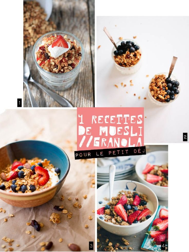 4 idées de recettes de muesli maison à base de flocons d'avoine pour le petit-déjeuner.