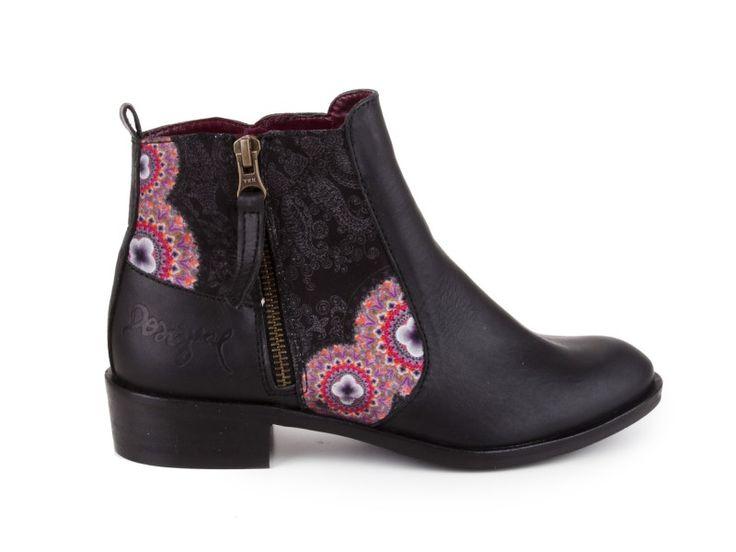 Desigual - Kožené kotníkové boty, na nízkém podpatku SHOES BRORA / černá | obujsi.cz - dámská, pánská, dětská obuv a boty online, kabelky, módní doplňky