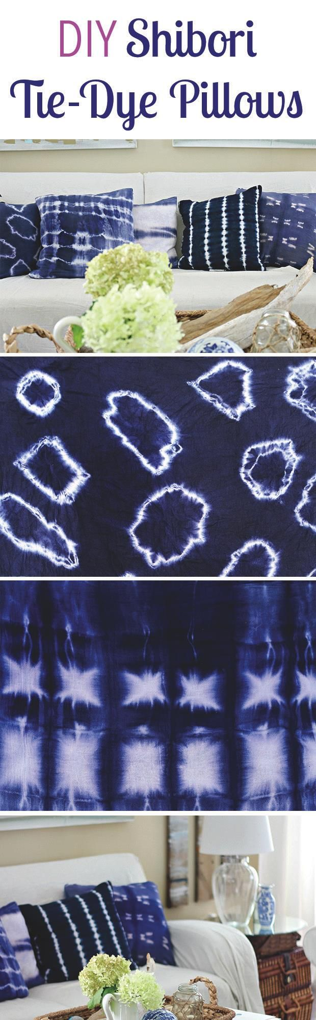 How to shibori tie-dye fabric and turn them into great pillow cases.