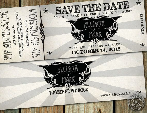 VIP Rock Music CONCERT TICKET Save the Date with Led Zeppelin and Billy Idol influence on Etsy, $30.26 AUD