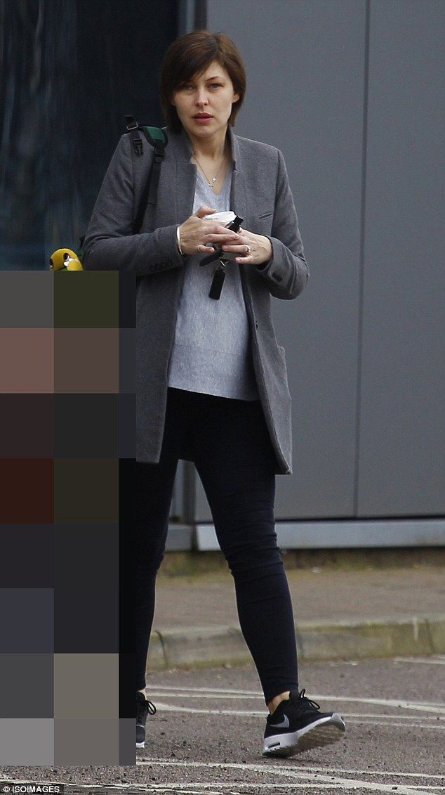 Make-up free: Emma Willis showed off her flawless complexion as she stepped out in north L...